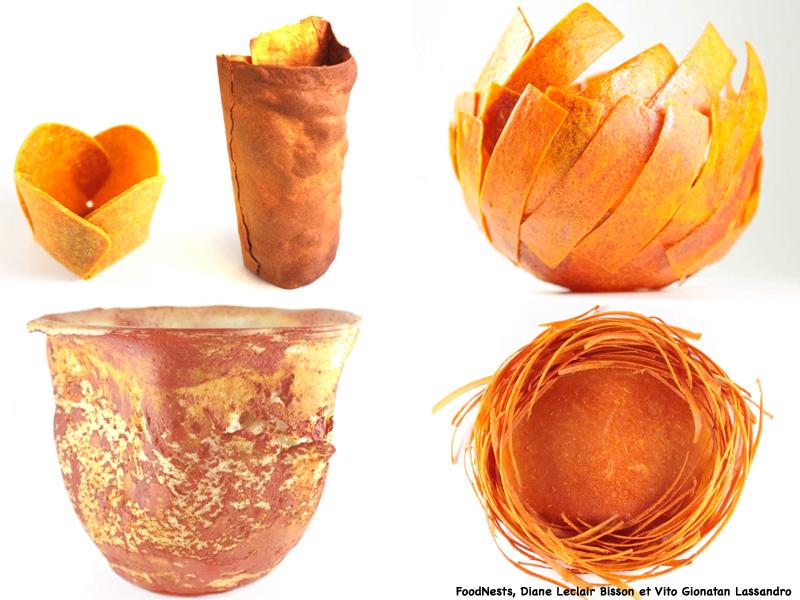Vaisselle comestible, projet FoodNests, Diane Leclair Bisson et Vito Gionatan Lassandro